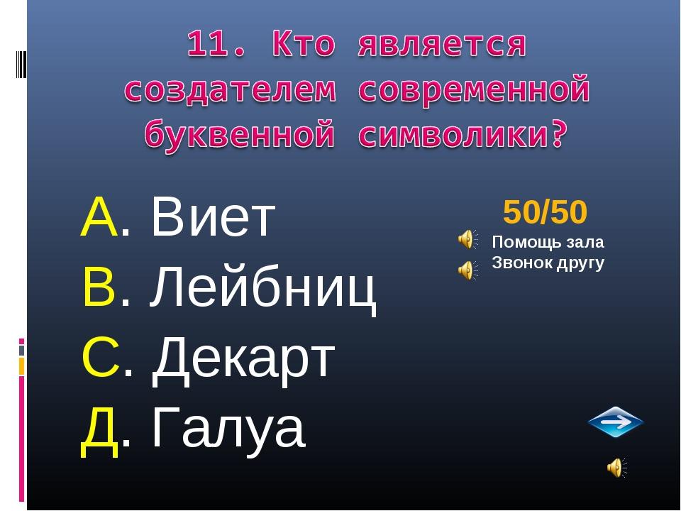 А. Виет В. Лейбниц С. Декарт Д. Галуа 50/50 Помощь зала Звонок другу