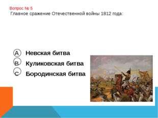 Вопрос № 5 Главное сражение Отечественной войны 1812 года: А Невская битва В