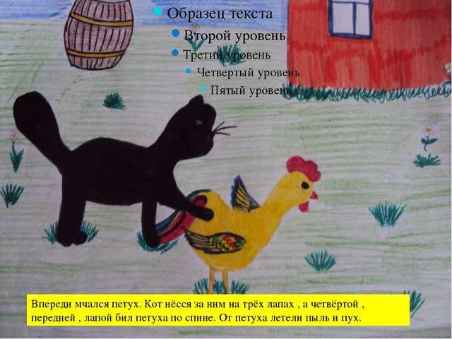 Впереди мчался петух. Кот нёсся за ним на трёх лапах , а четвёртой , передне...
