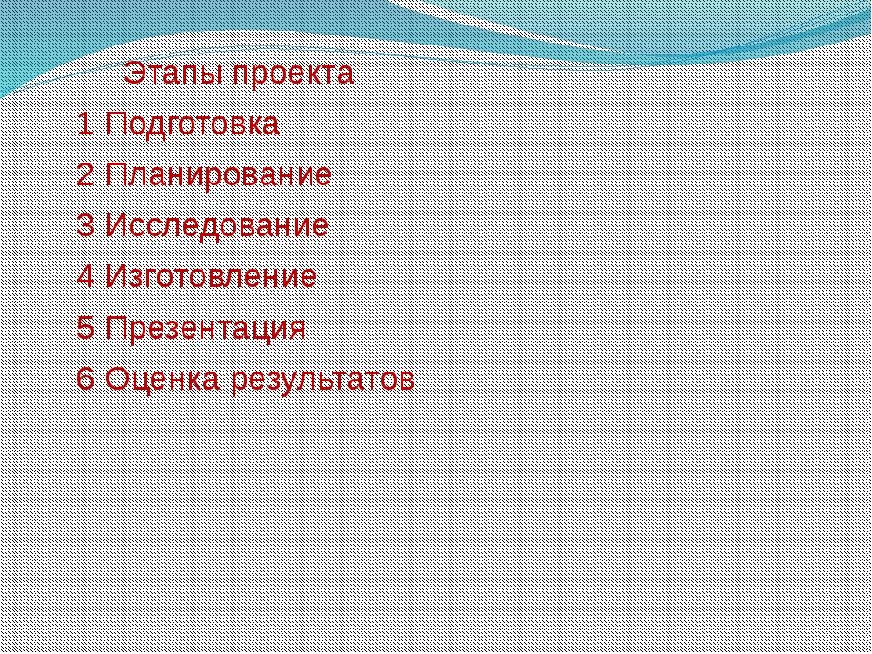 Этапы проекта 1 Подготовка 2 Планирование 3 Исследование 4 Изготовление 5 Пр...