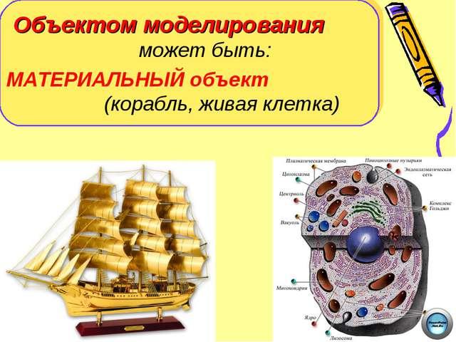 Объектом моделирования может быть: МАТЕРИАЛЬНЫЙ объект (корабль, живая клетка)