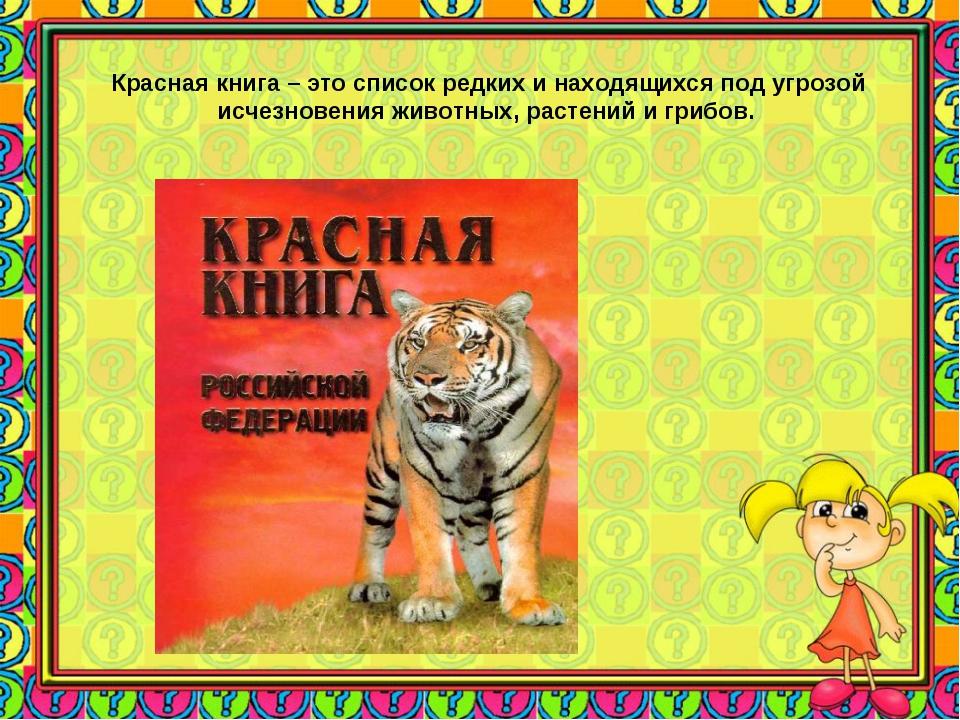 Красная книга – это список редких и находящихся под угрозой исчезновения живо...