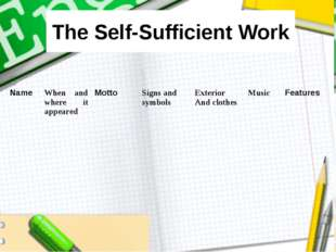 The Self-Sufficient Work Name	When and where it appeared	Motto	Signs and symb
