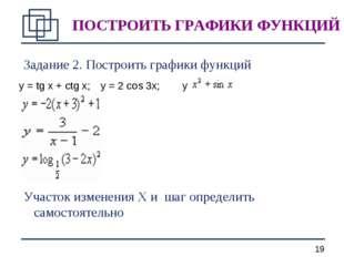 Задание 2. Построить графики функций Участок изменения X и шаг определить сам