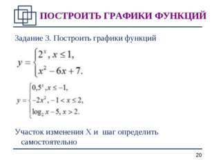 Задание 3. Построить графики функций Участок изменения X и шаг определить сам