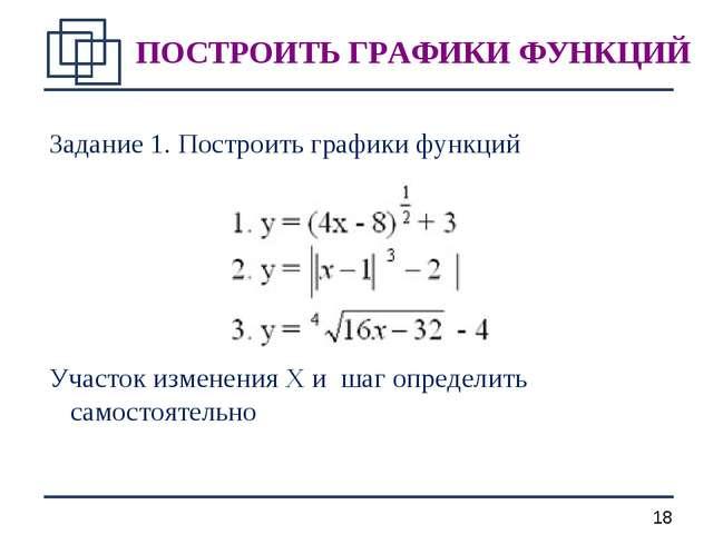 Задание 1. Построить графики функций Участок изменения X и шаг определить сам...