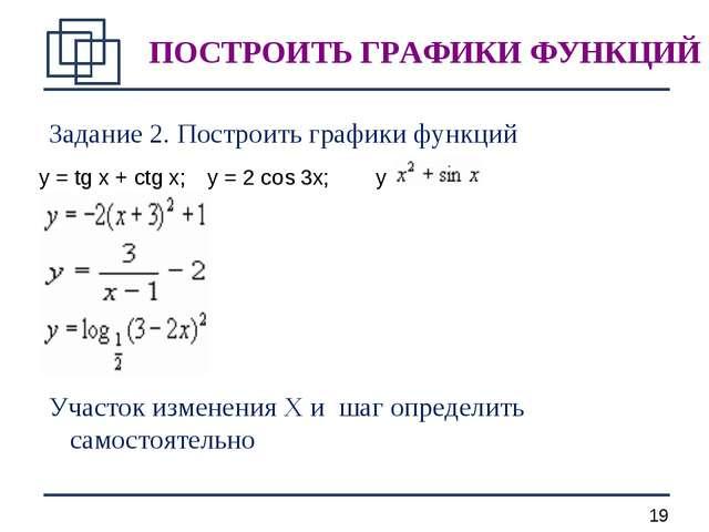Задание 2. Построить графики функций Участок изменения X и шаг определить сам...