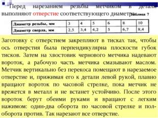преподаватель Назаренко И.П. * Перед нарезанием резьбы метчиком в детали выпо