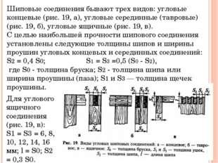 Шиповые соединения бывают трех видов: угловые концевые (рис. 19, а), угловые