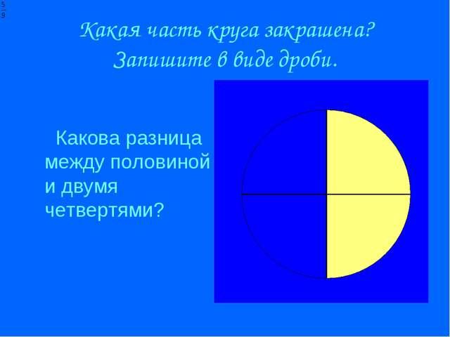 Какая часть круга закрашена? Запишите в виде дроби. Какова разница между поло...