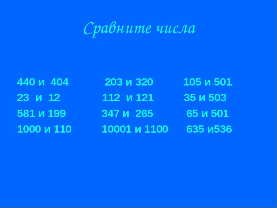 Сравните числа 440 и 404 203 и 320 105 и 501 и 12 112 и 121 35 и 503 581 и 19...