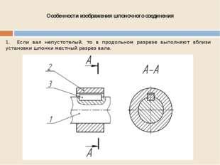 Особенности изображения шпоночного соединения 1. Если вал непустотелый, то в