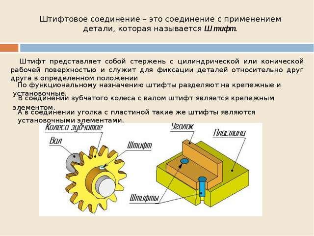 Штифтовое соединение – это соединение с применением детали, которая называетс...