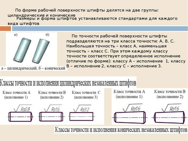 Размеры и форма штифтов устанавливаются стандартами для каждого вида штифтов...