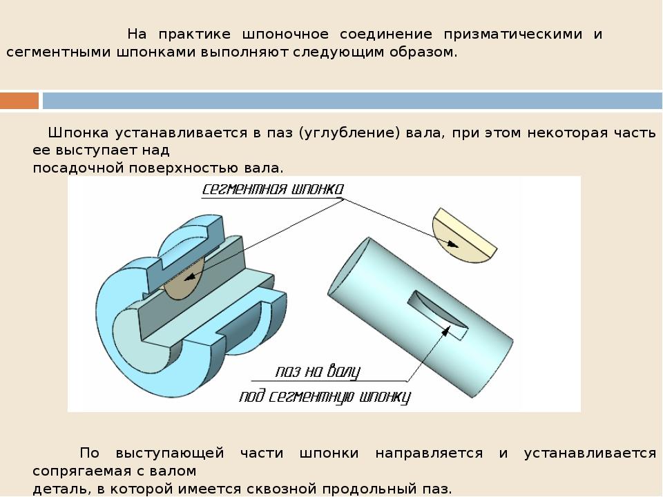 На практике шпоночное соединение призматическими и сегментными шпонками выпо...