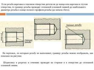 Если резьба нарезана в сквозном отверстии детали не до конца или нарезана в