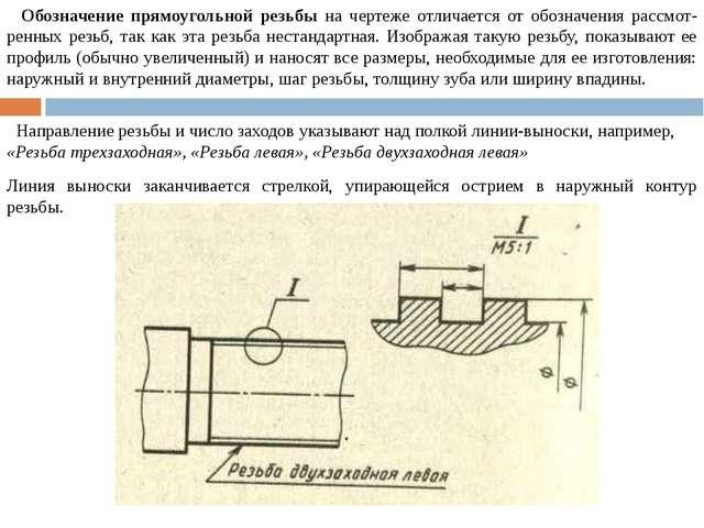 Обозначение прямоугольной резьбы на чертеже отличается от обозначения рассмо...