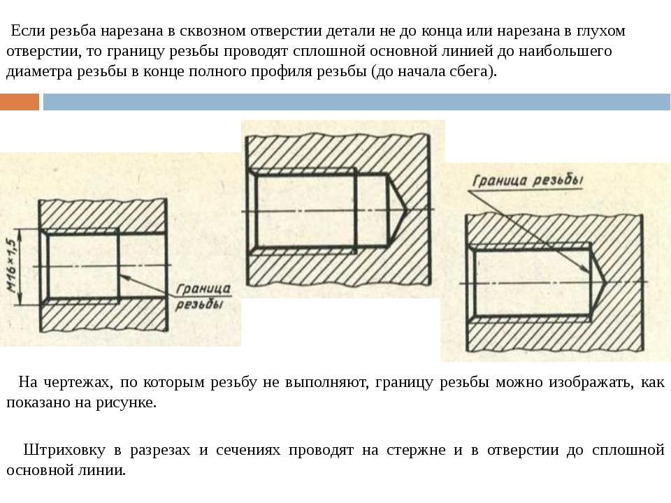 Если резьба нарезана в сквозном отверстии детали не до конца или нарезана в...