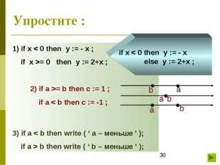 Упростите : 1) if x < 0 then y := - x ; if x >= 0 then y := 2+x ; 2) if a >=