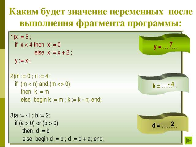 Каким будет значение переменных после выполнения фрагмента программы: 1)x :=...