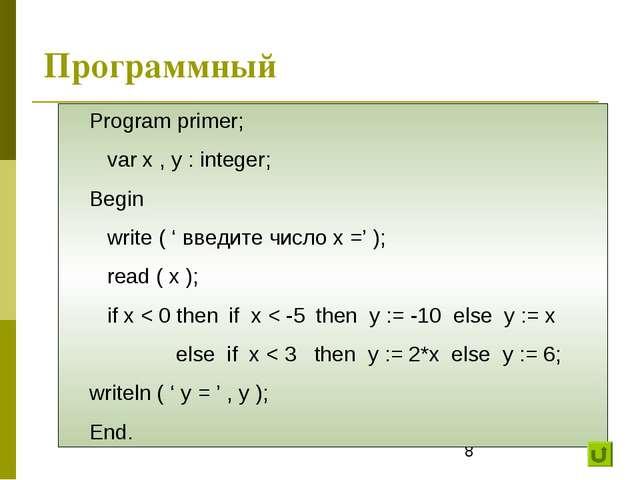 Программный Program primer; var x , y : integer; Begin write ( ' введите числ...