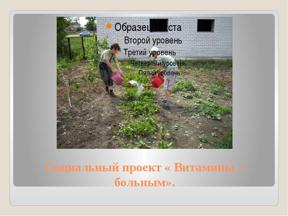 Социальный проект « Витамины – больным».