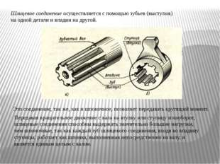 Шлицевое соединение осуществляется с помощью зубьев (выступов) на одной детал