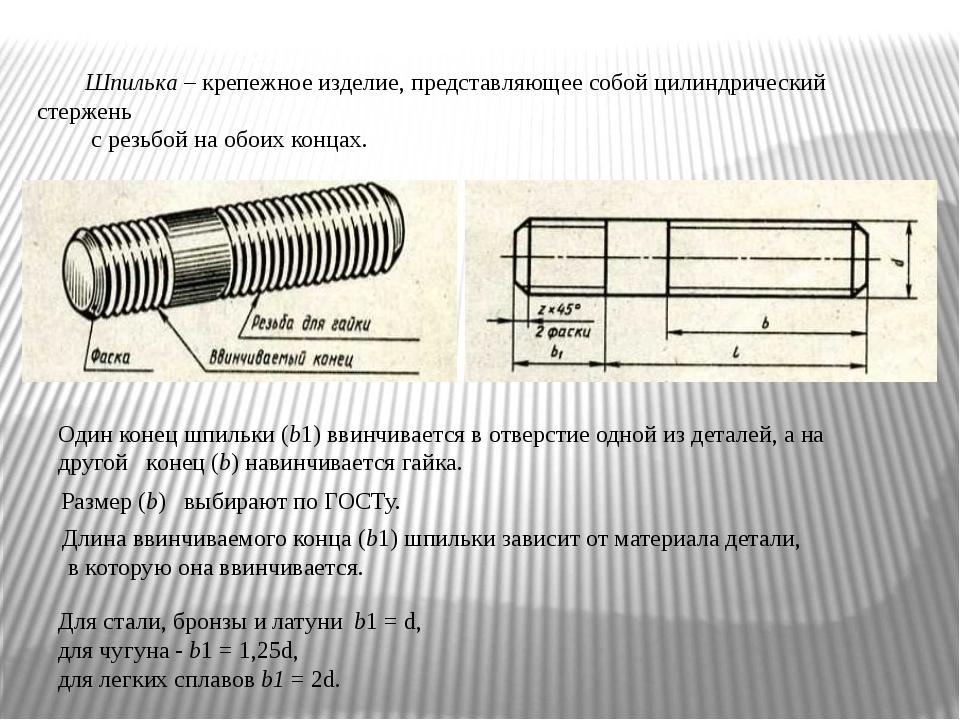 Шпилька – крепежное изделие, представляющее собой цилиндрический стержень с р...