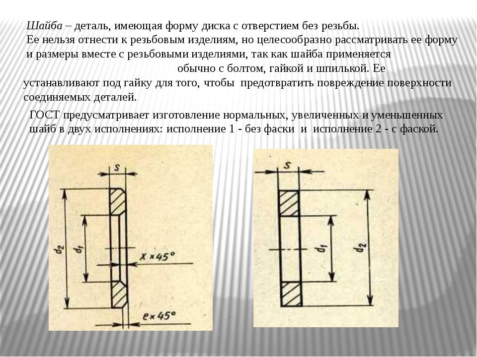 Шайба – деталь, имеющая форму диска с отверстием без резьбы. Ее нельзя отнес...