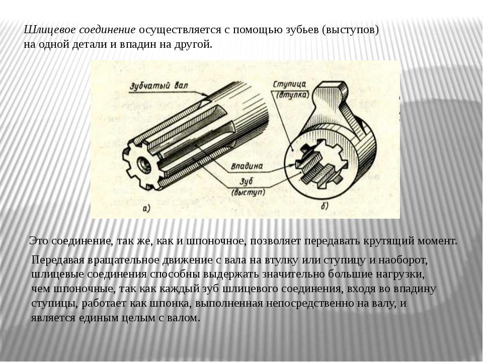 Шлицевое соединение осуществляется с помощью зубьев (выступов) на одной детал...