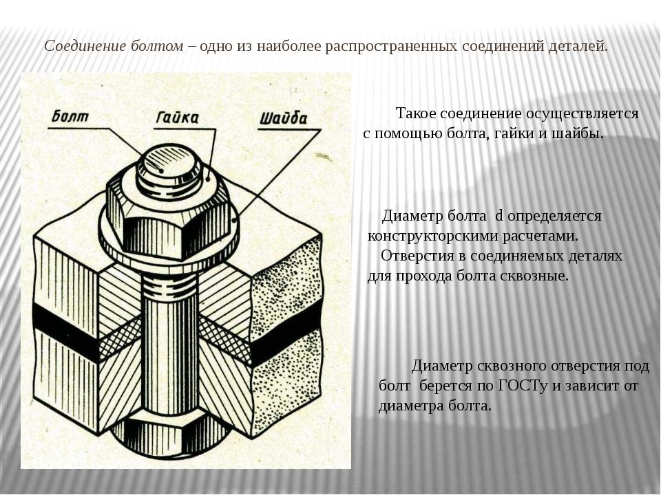 Соединение болтом – одно из наиболее распространенных соединений деталей. Та...