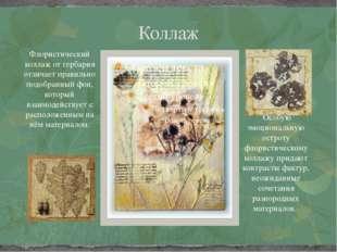 Коллаж Флористический коллаж от гербария отличает правильно подобранный фон,
