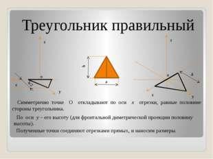 Треугольник правильный Симметрично точке О откладывают по оси x отрезки, равн
