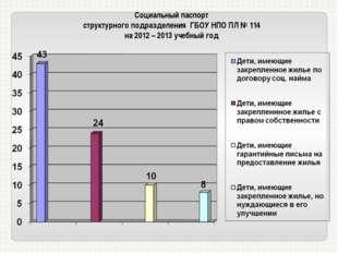 Социальный паспорт структурного подразделения ГБОУ НПО ПЛ № 114 на 2012 – 201