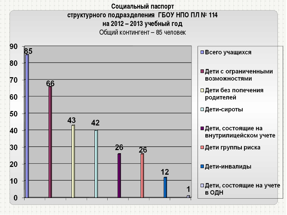 Социальный паспорт структурного подразделения ГБОУ НПО ПЛ № 114 на 2012 – 201...