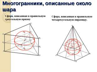 Многогранники, описанные около шара Сфера, вписанная в правильную треугольную