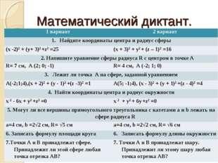 Математический диктант. 1 вариант2 вариант Найдите координаты центра и радиу