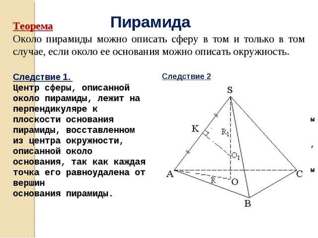 Пирамида Теорема Около пирамиды можно описать сферу в том и только в том случ...