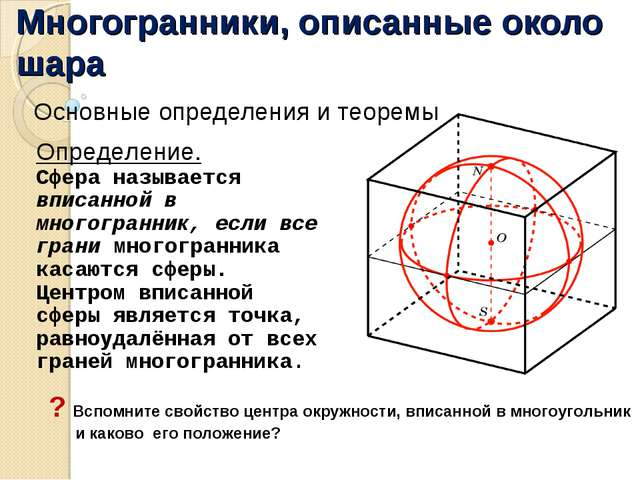Многогранники, описанные около шара Основные определения и теоремы Определени...