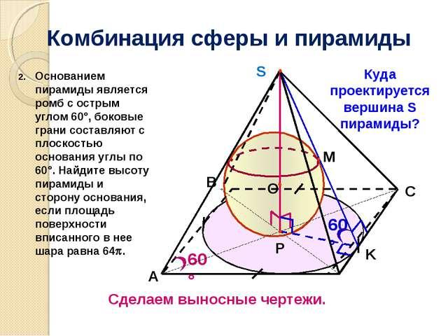 Комбинация сферы и пирамиды 60° A P K 60° C B Куда проектируется вершина S пи...