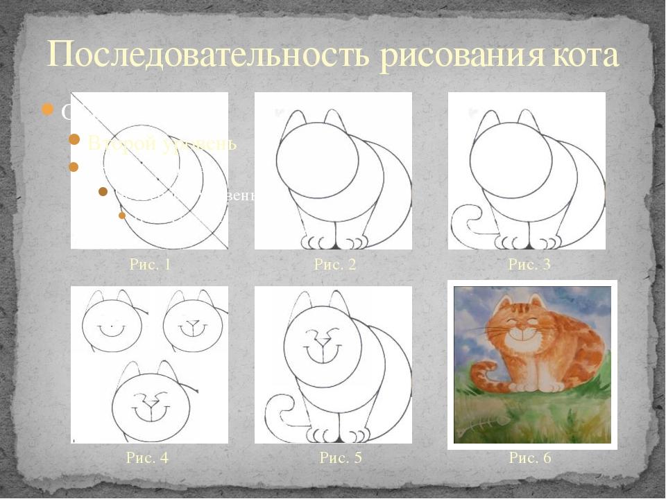 Последовательность рисования кота Рис. 1 Рис. 2 Рис. 3 Рис. 4 Рис. 5 Рис. 6