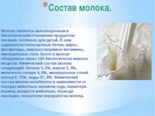 Состав молока. Молоко является высокоценным в биологическом отношении продукт