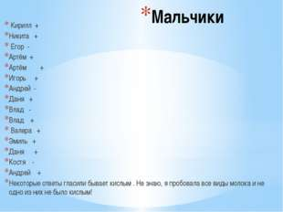 Мальчики Кирилл + Никита + Егор - Артём + Артём + Игорь + Андрей - Даня + Вла