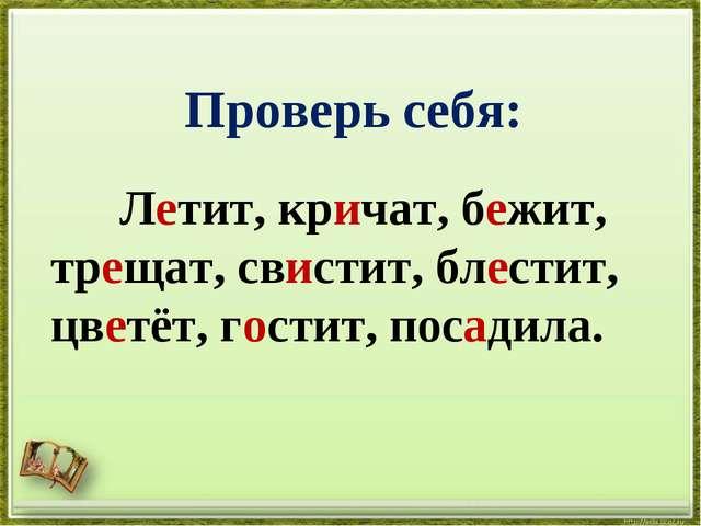Проверь себя: Летит, кричат, бежит, трещат, свистит, блестит, цветёт, гости...