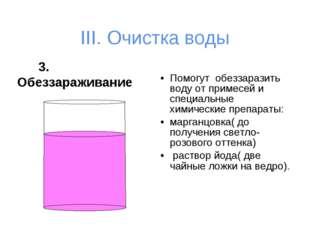 III. Очистка воды 3. Обеззараживание Помогут обеззаразить воду от примесей и