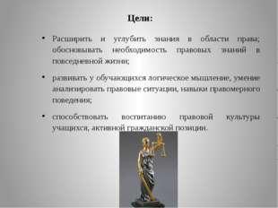 Цели: Расширить и углубить знания в области права; обосновывать необходимость