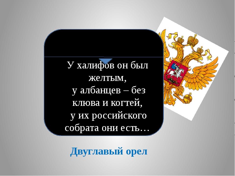 Двуглавый орел У халифов он был желтым, у албанцев – без клюва и когтей, у их...