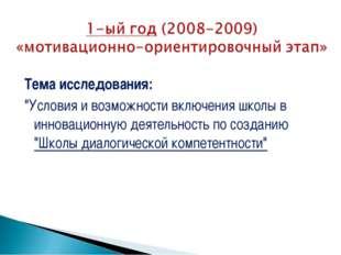"""Тема исследования: """"Условия и возможности включения школы в инновационную д"""