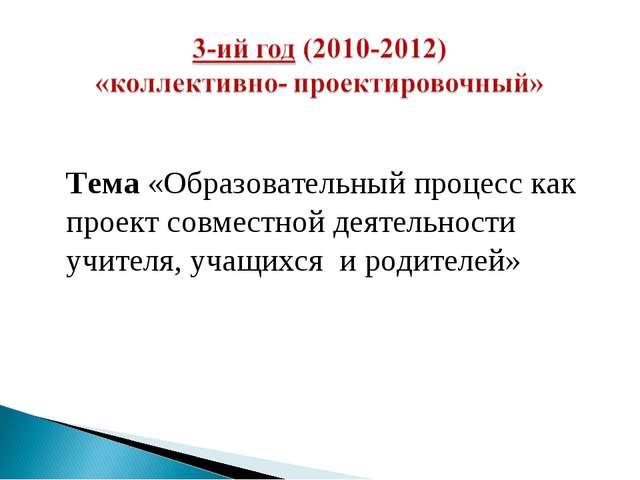 Тема «Образовательный процесс как проект совместной деятельности учителя, уч...