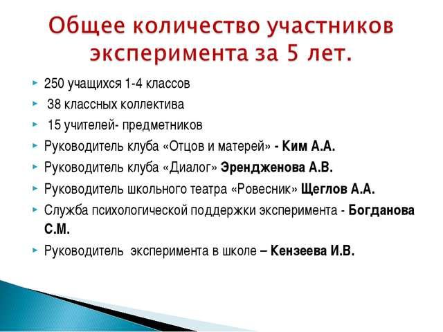 250 учащихся 1-4 классов 38 классных коллектива 15 учителей- предметников Рук...